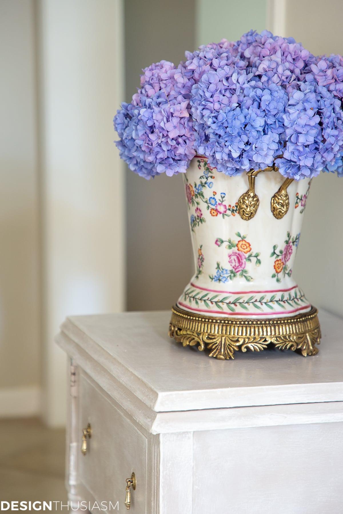 hydrangeas in a vase floral arrangement