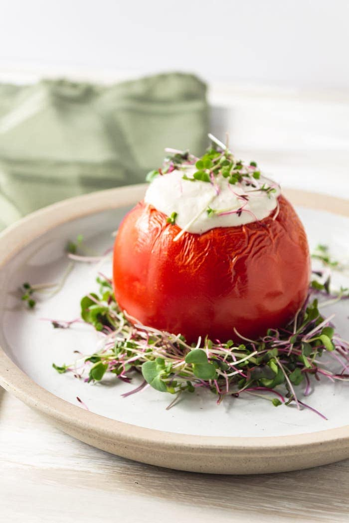vegan stuffed tomatoes cashew cream sauce