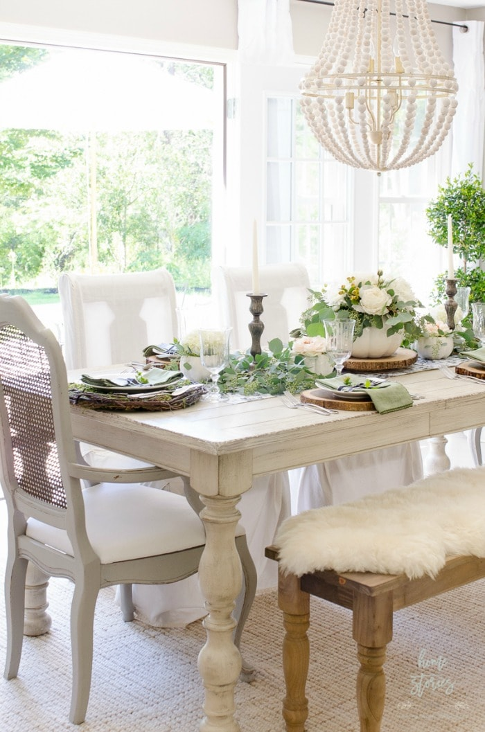 Home Stories elegant black and white farmhouse table for fall