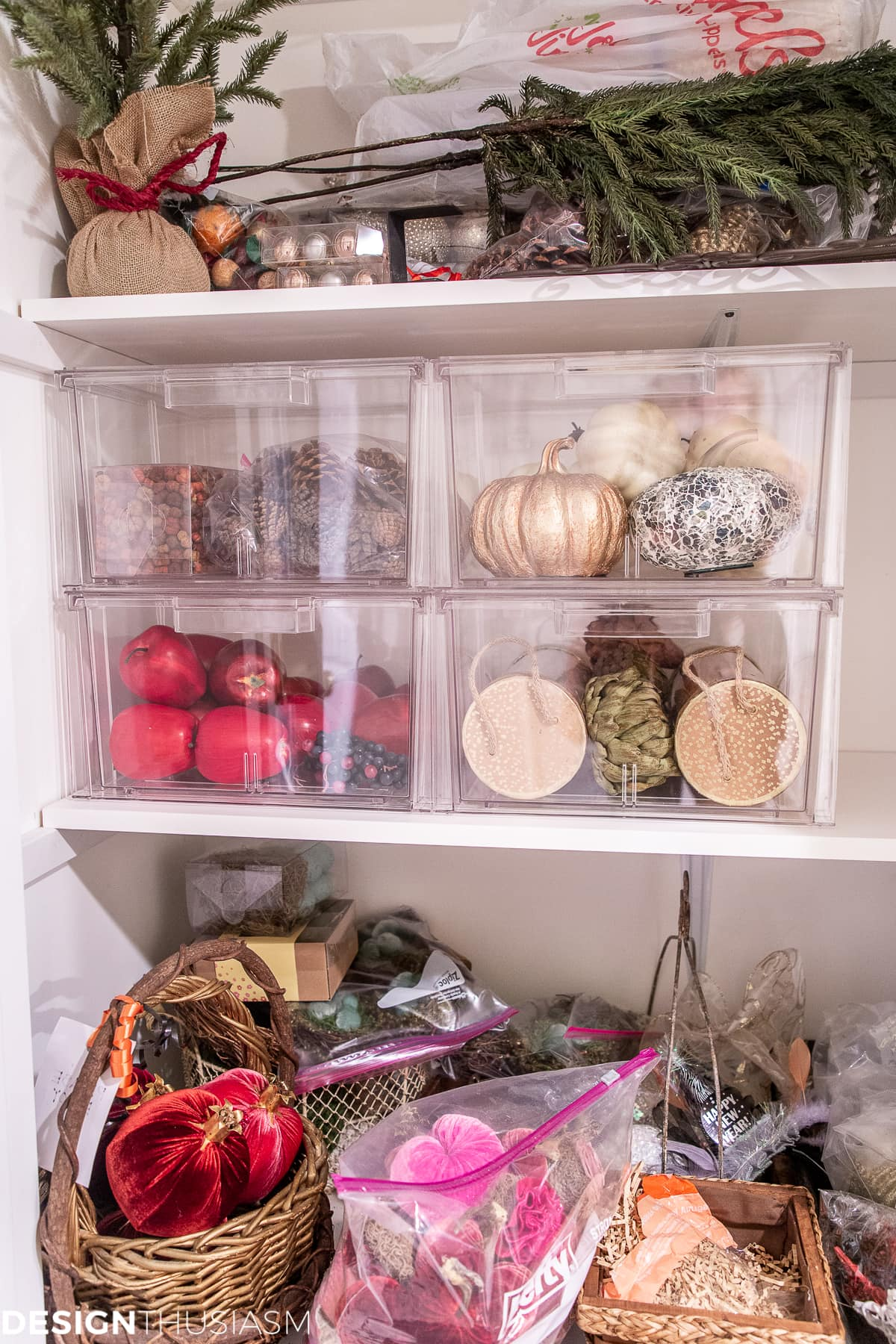 seasonal storage closet makeover progress