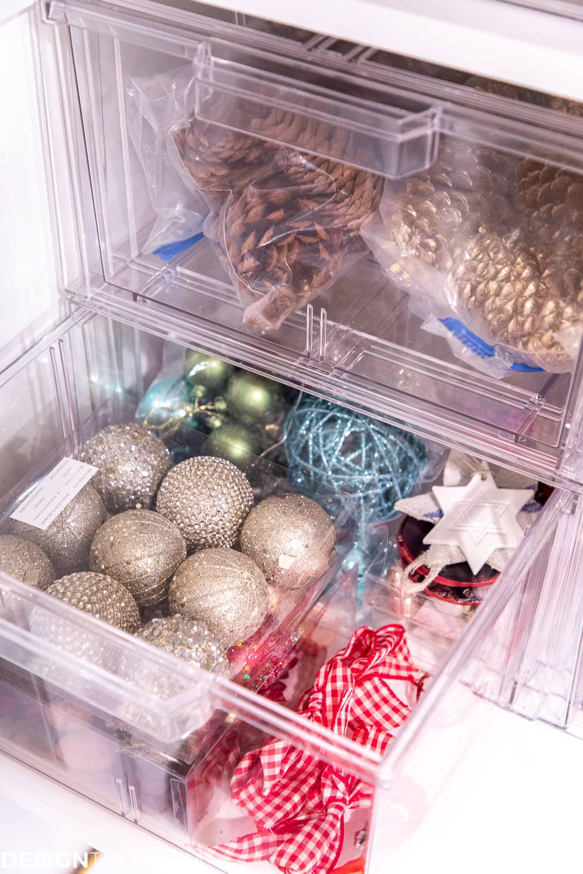 seasonal storage closet pull out bins