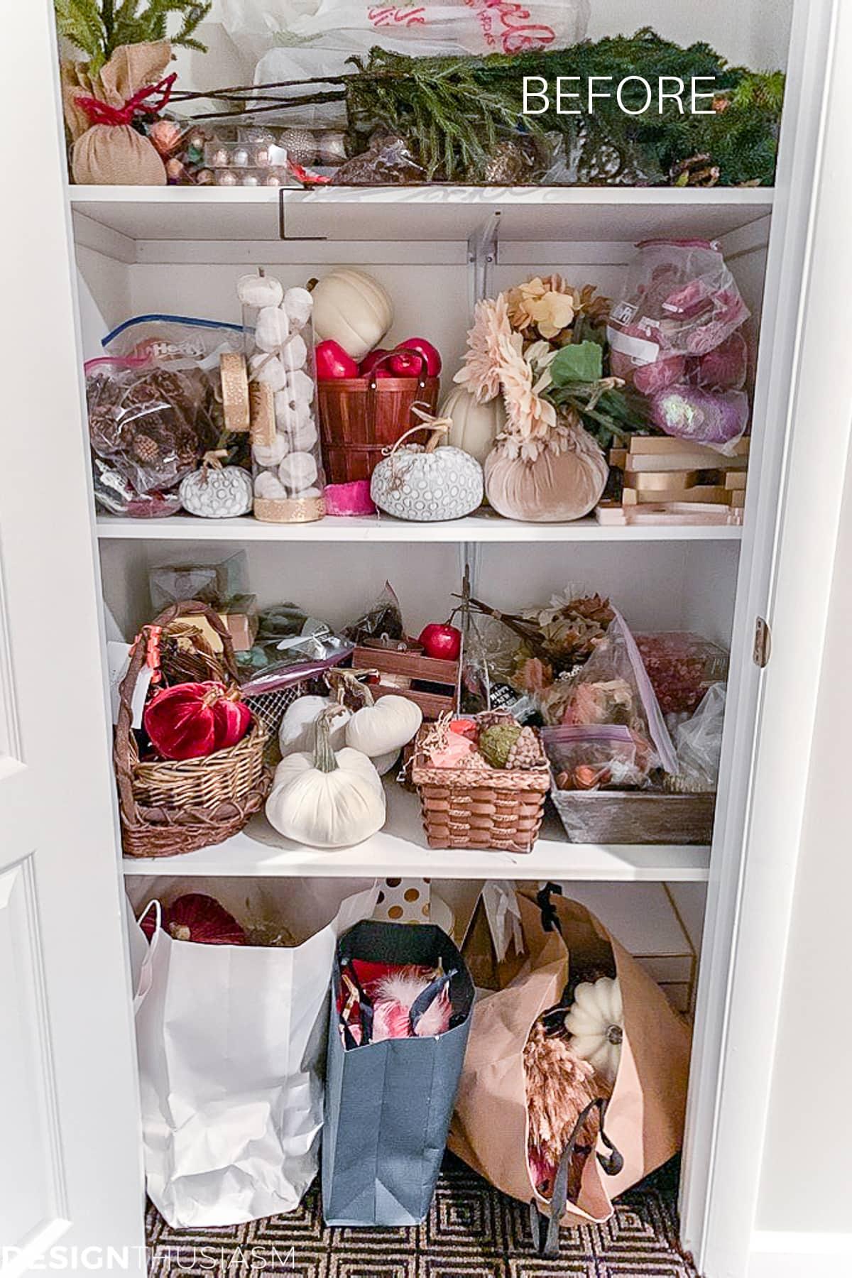 seasonal storage closet before photo