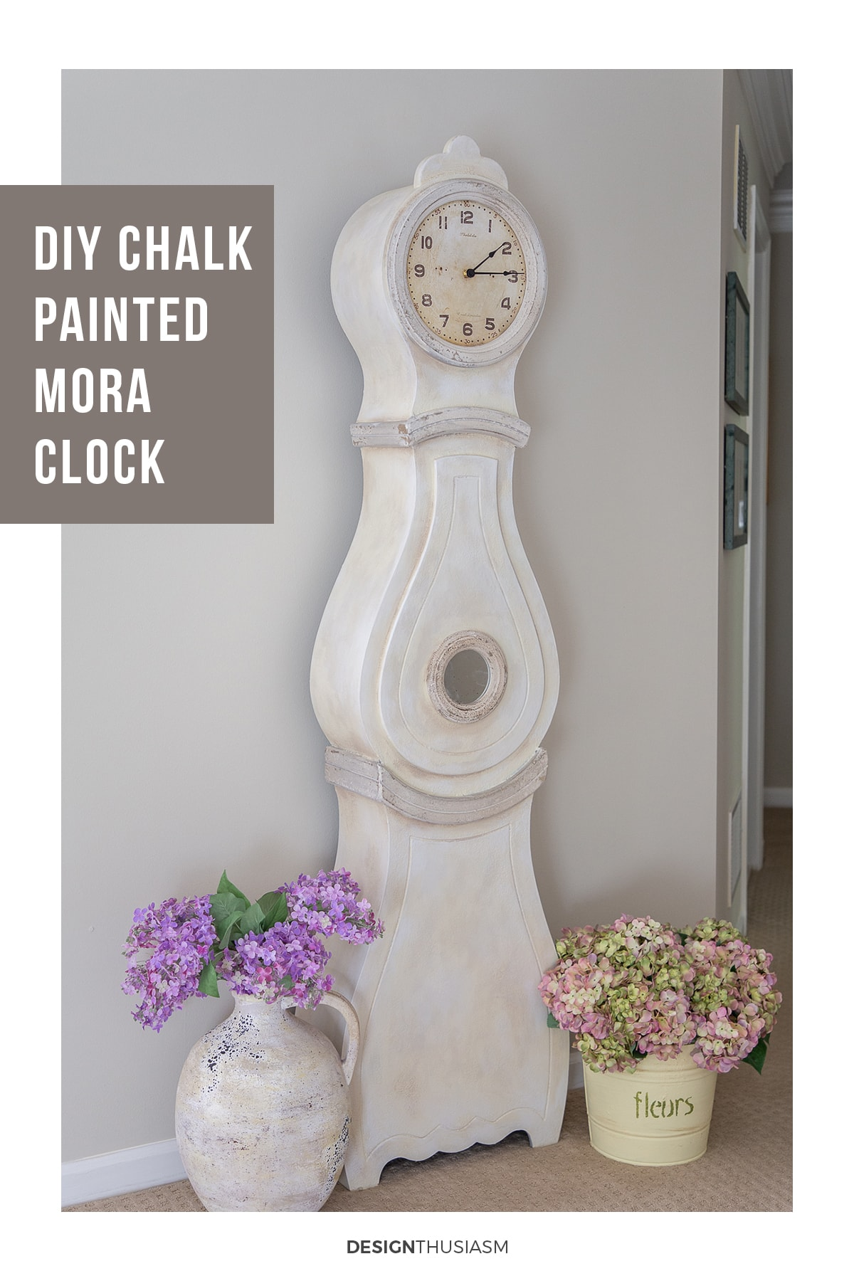 chalk painted Swedish mora clock