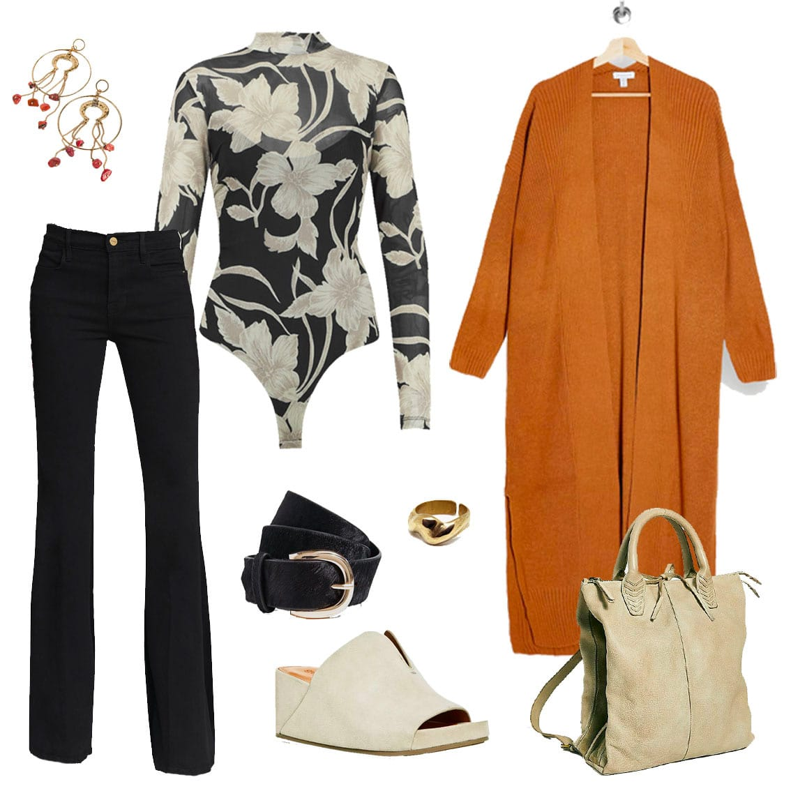 retro fall style work from home outfit