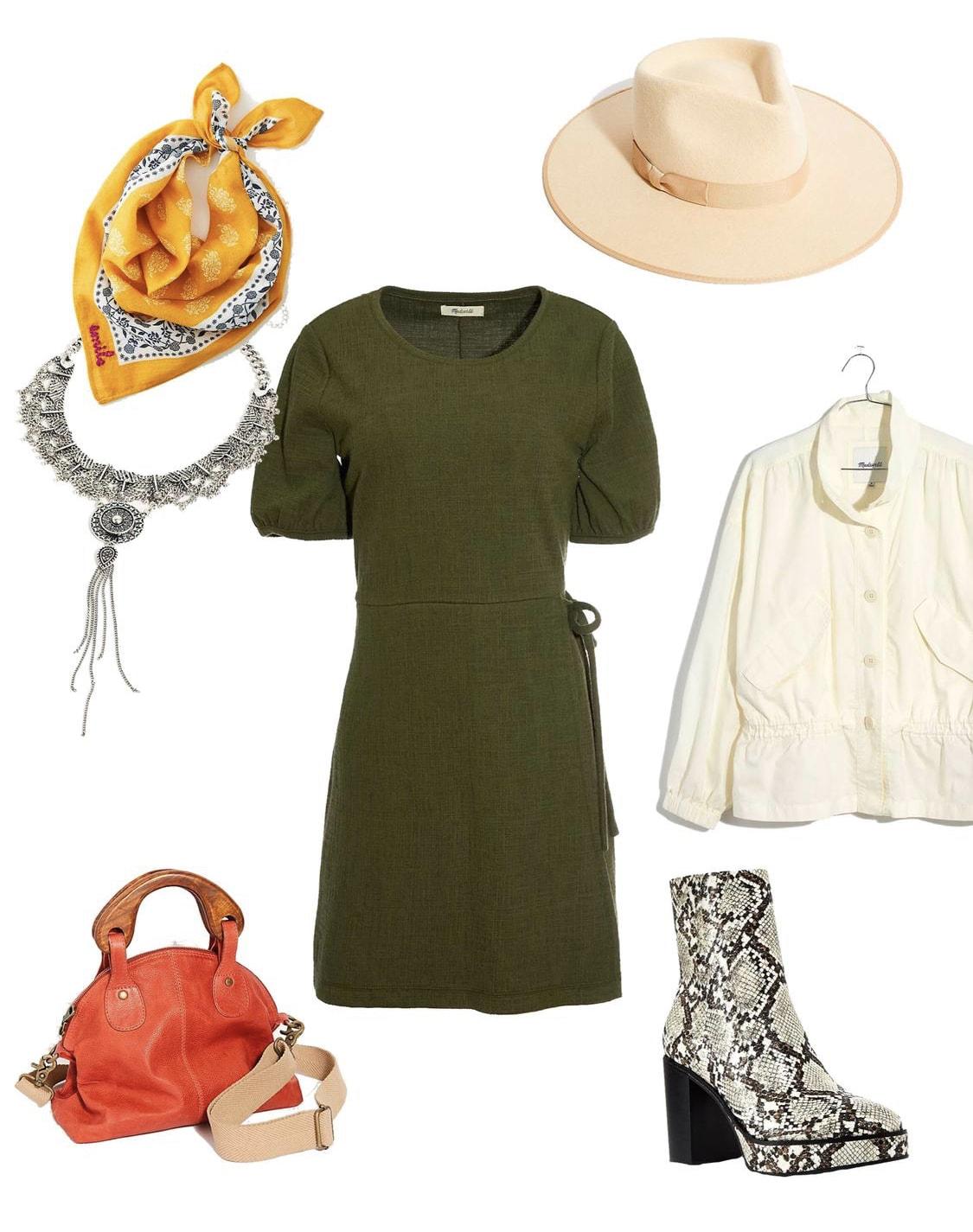 roupa de outono fofa com botinhas de pele de cobra
