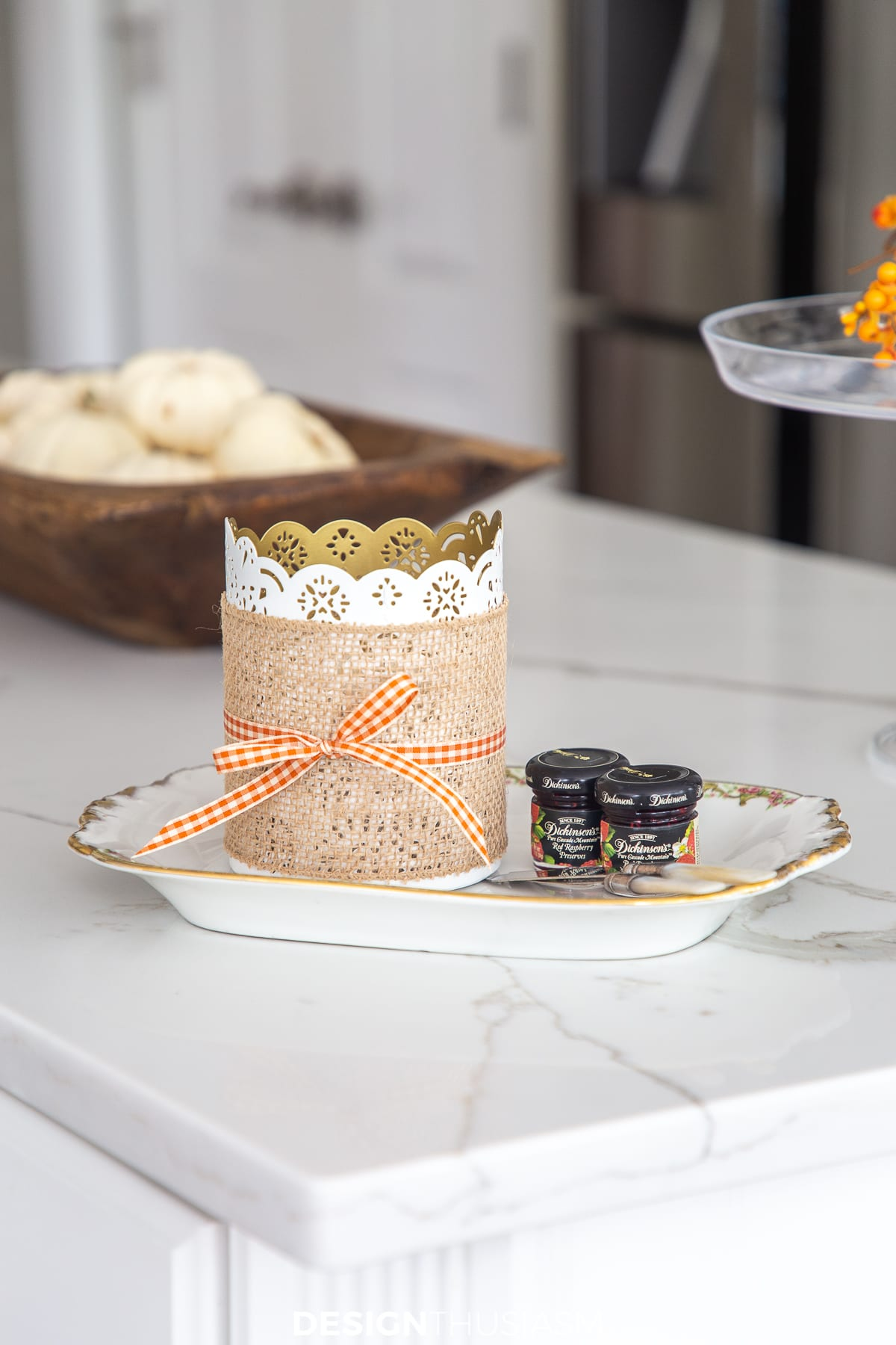 burlap wrapped candle holder