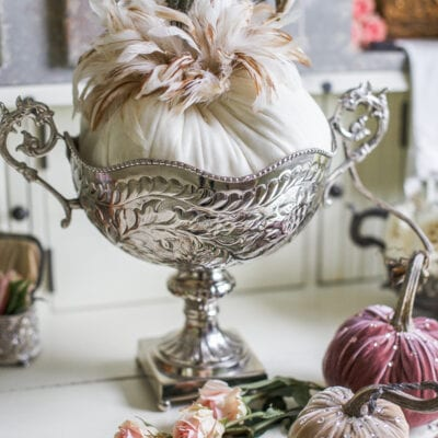 Neutral Fall Decor: Styling a Hutch with Soft Velvet Pumpkins