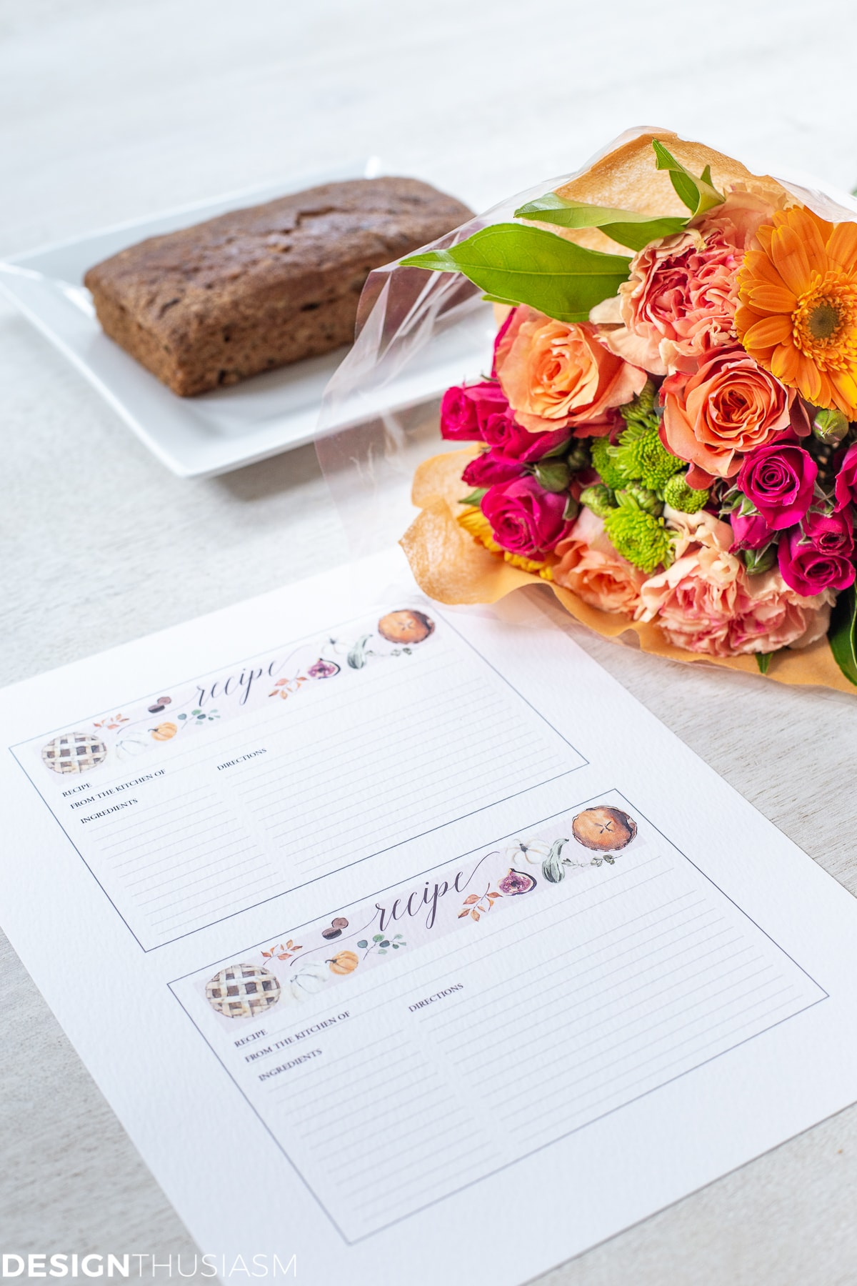 fall printable recipe cards with flowers