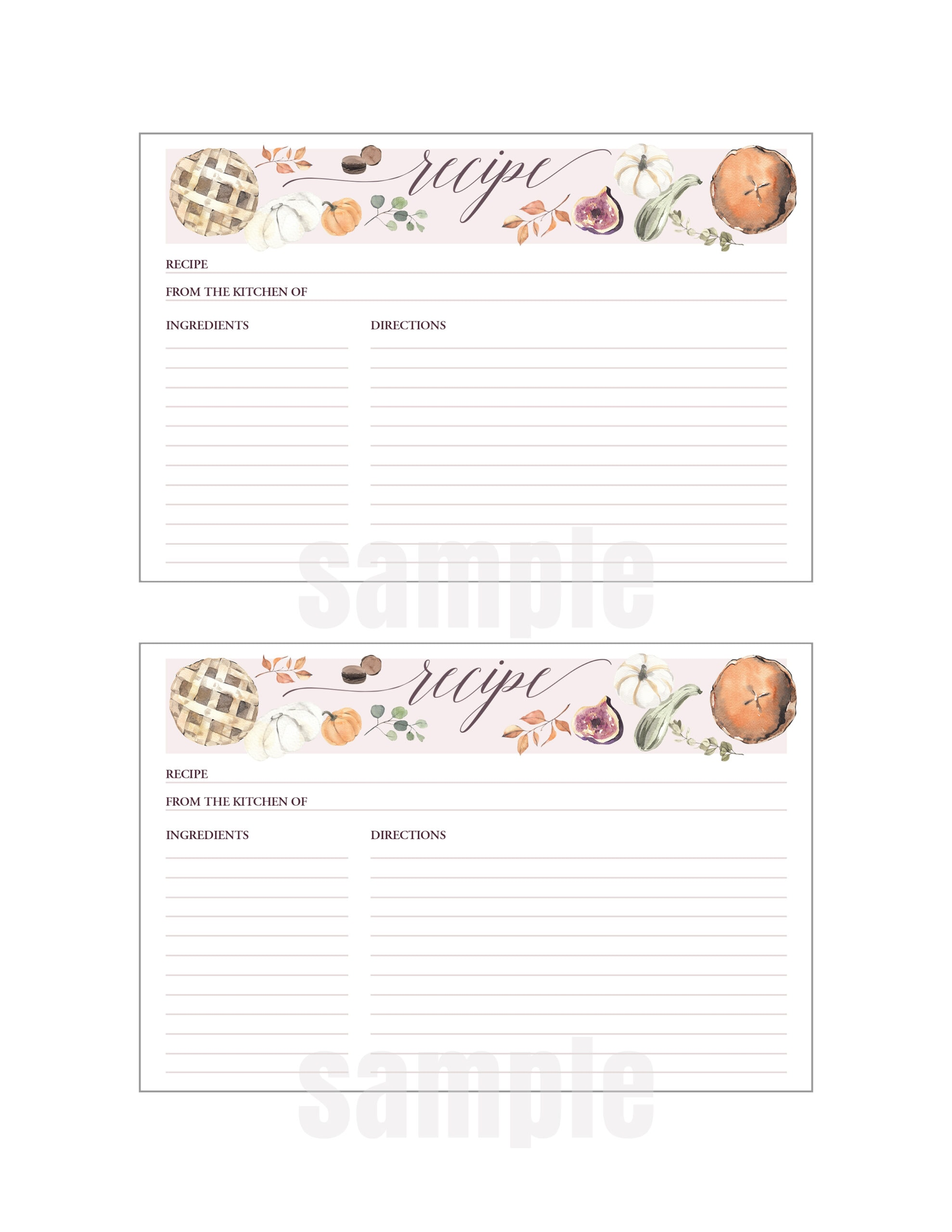 fall printable recipe cards artwork