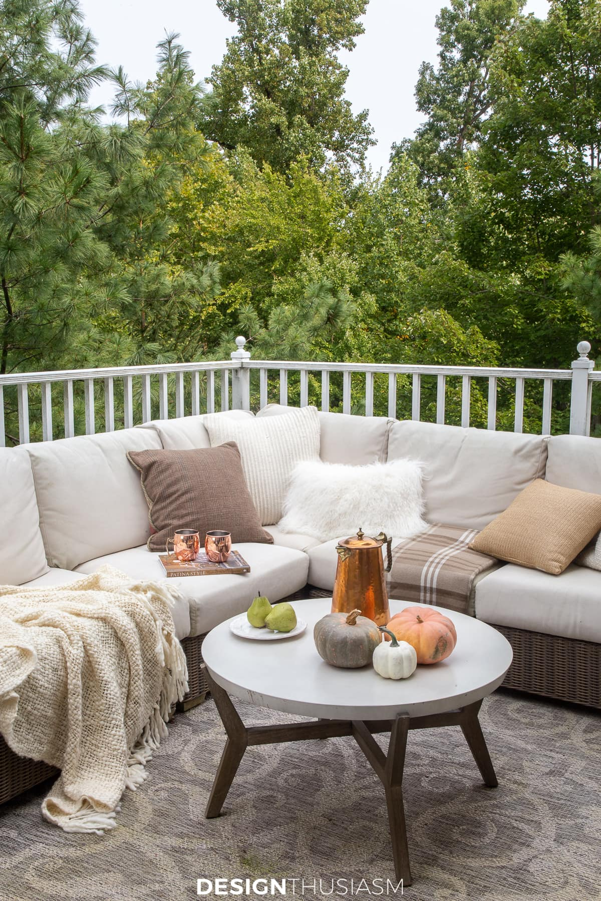 outdoor fall decorations on the patio