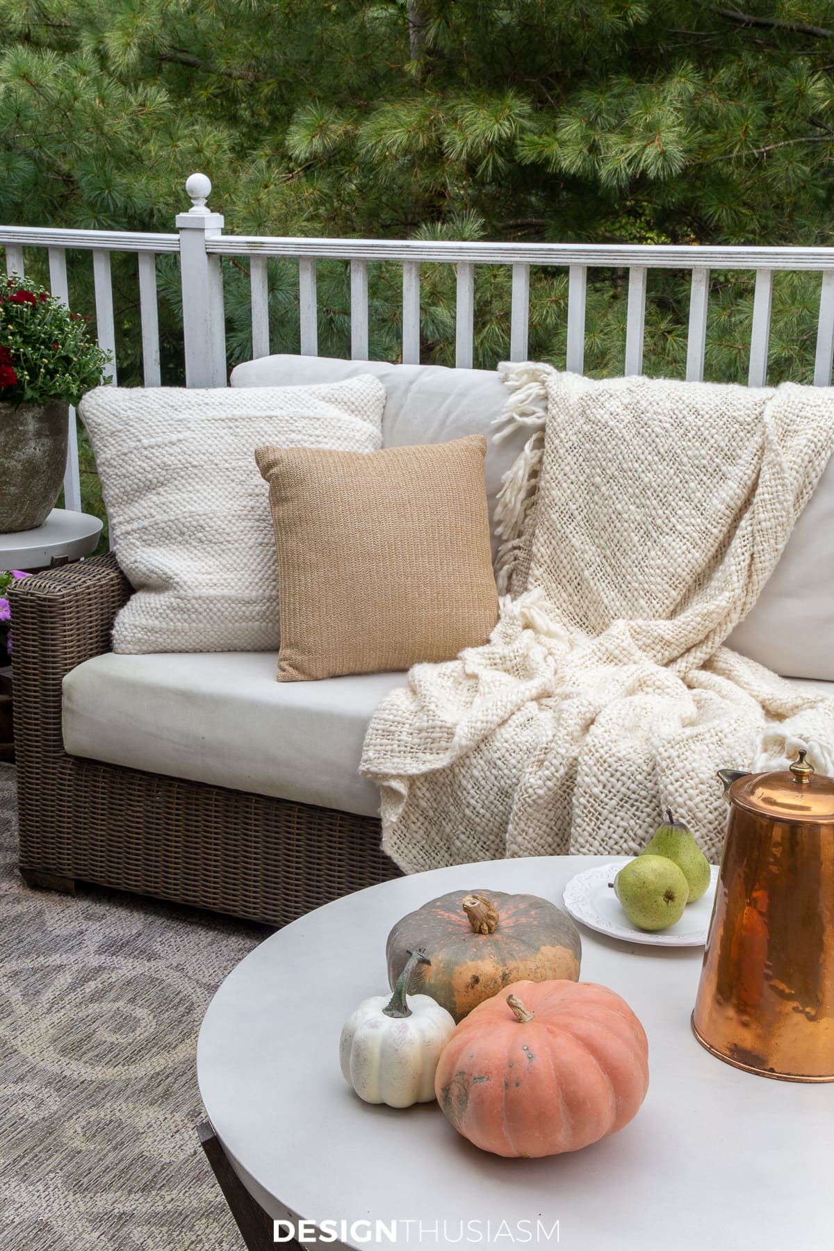 seating on the fall porch