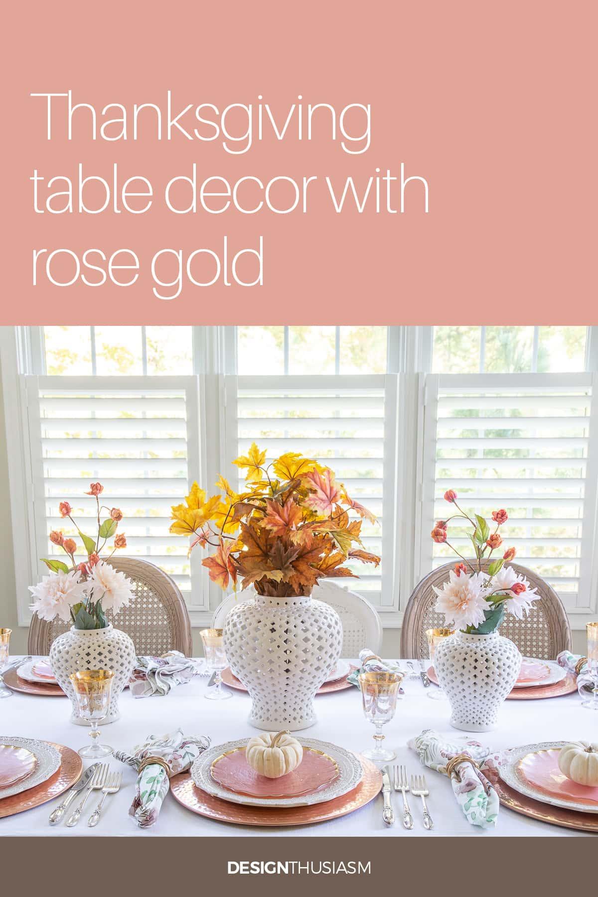 Mesa de Ação de Graças em ouro rosa