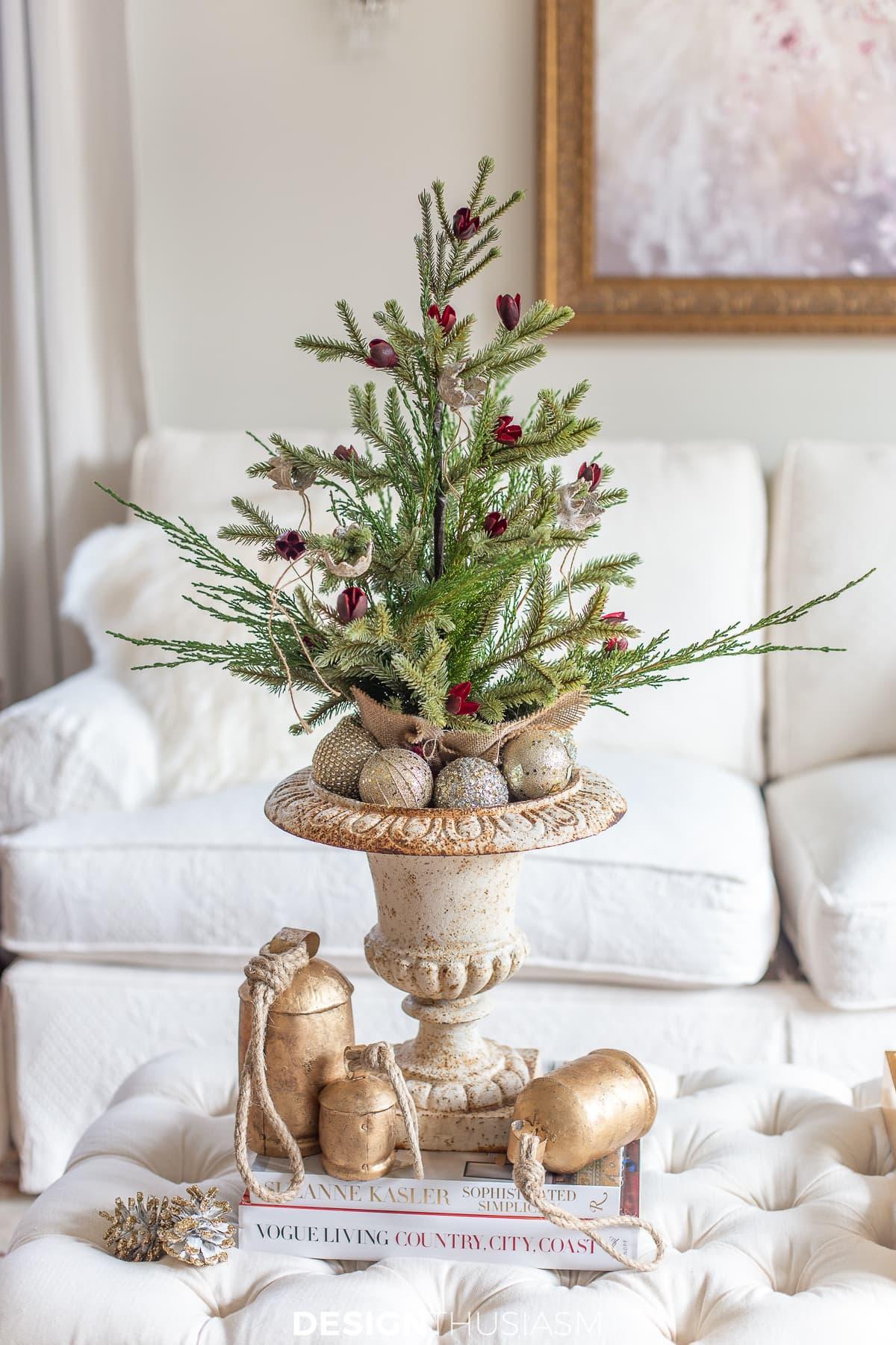 mini christmas tree and cow bells