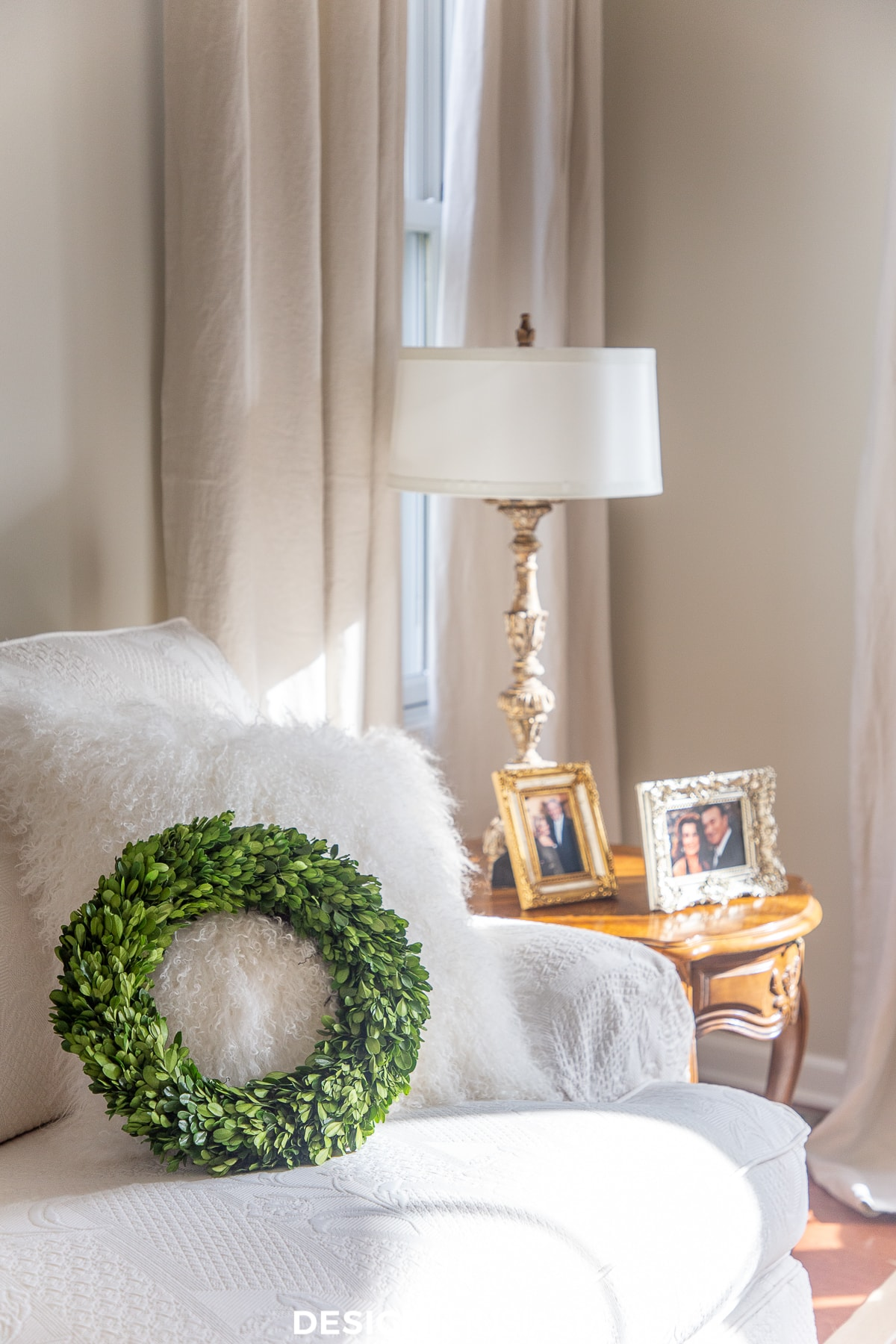 boxwood wreath in the living room