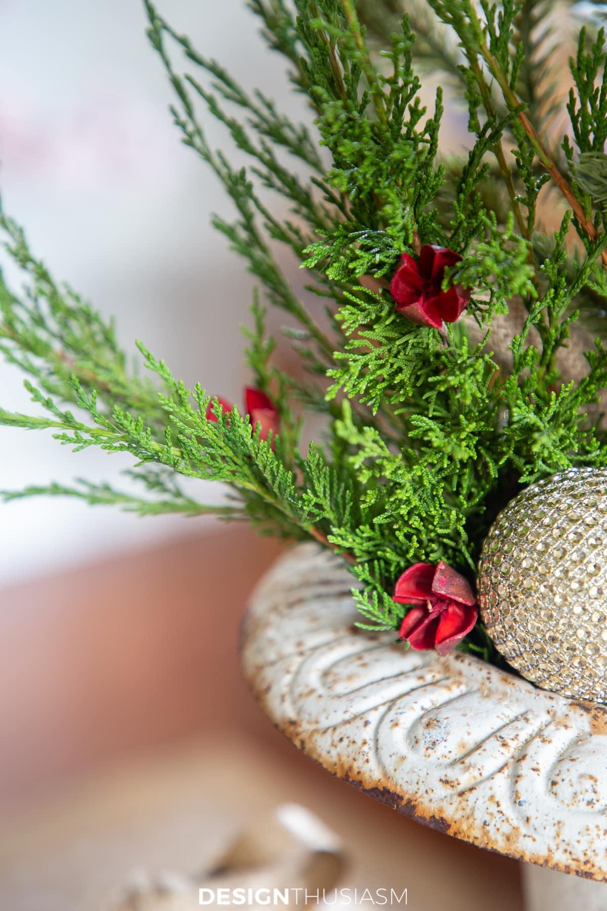 mini galhos de árvore de natal