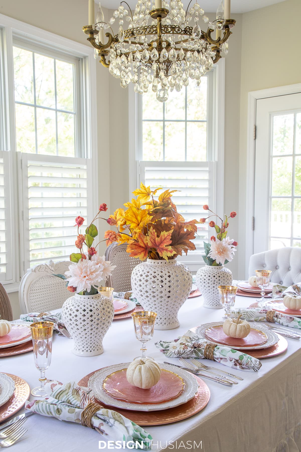 Thanksgiving Table Decor Cheery Rose Gold Fall Tablescape
