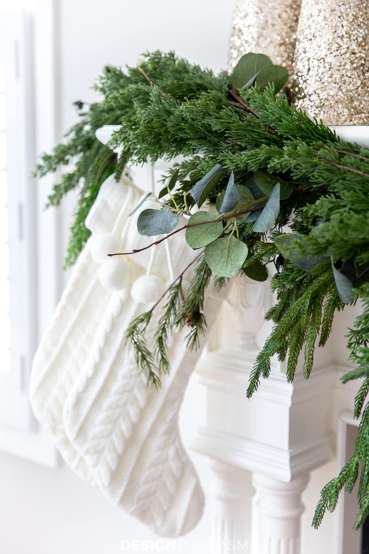 Christmas mantel garland and stockings