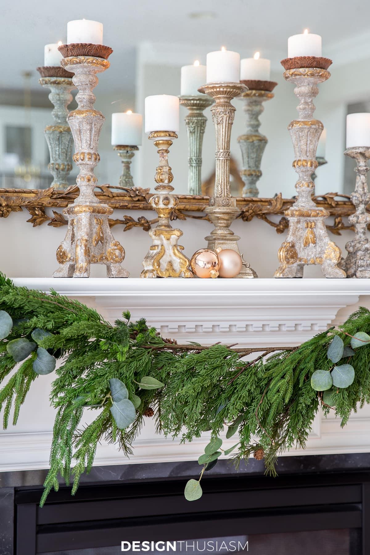 Christmas mantel decor with garland