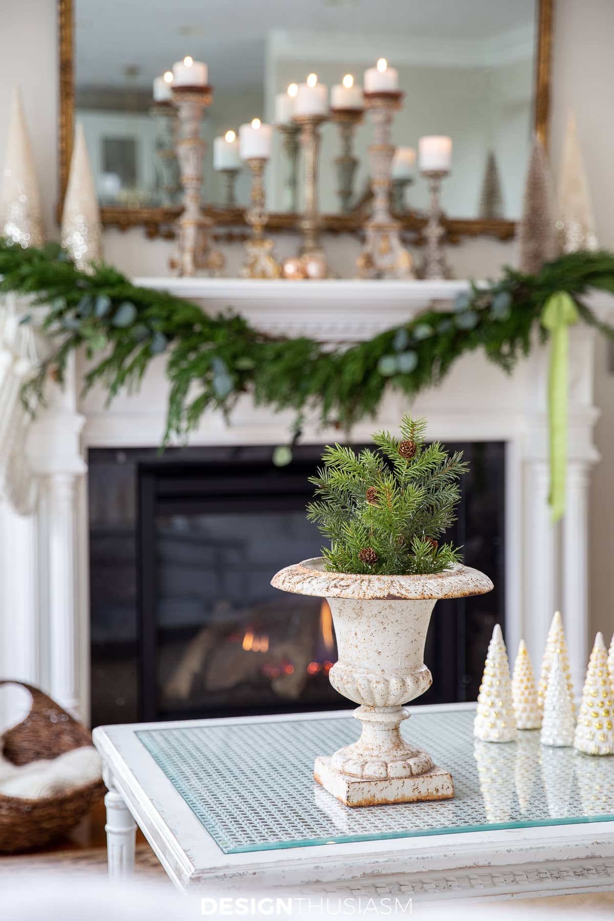 Christmas mantel and coffee table urn