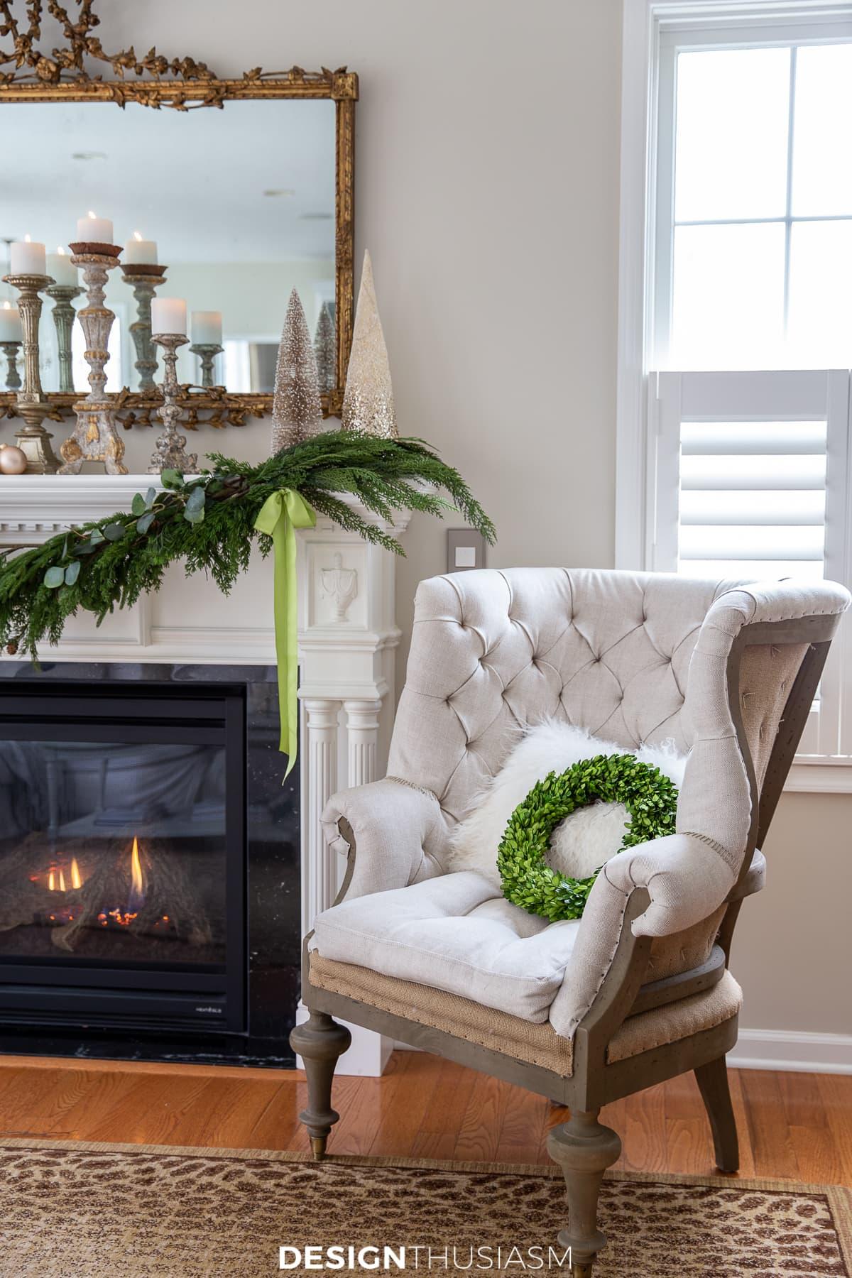 Christmas mantel tufted chair