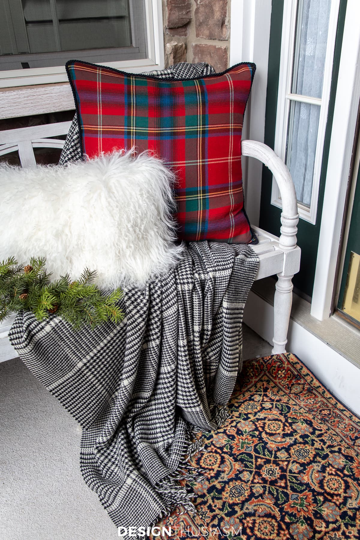 Christmas porch bench decorations