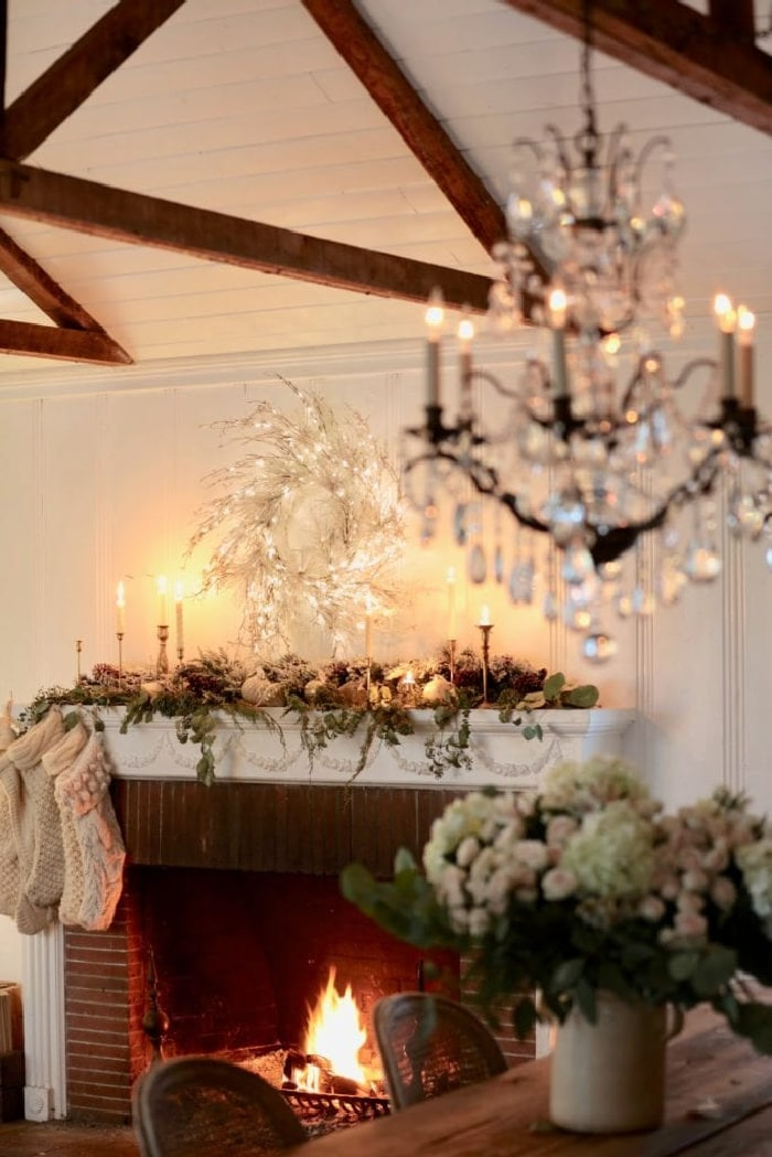 French Country Cottage Natural Christmas Mantel