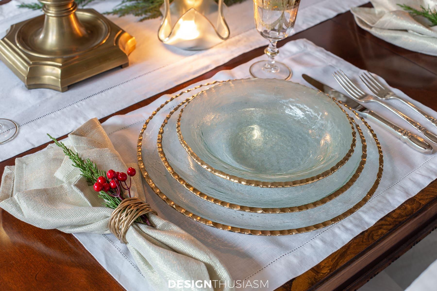 Gold Christmas table plates
