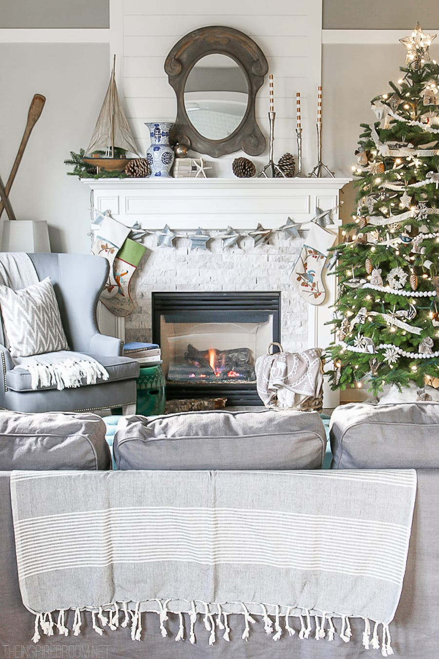 How-to-hang-garland-wreaths-stockings-without-nails-Christmas-House-Tour-The-Inspired-Room-Family-Room-Neutral-Christmas-Decorating