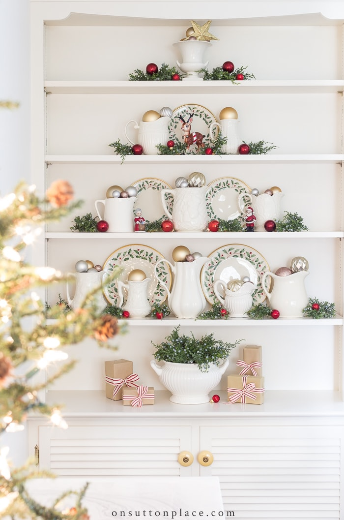 Ironstone Christmas Tree Shelves from On Sutton Place