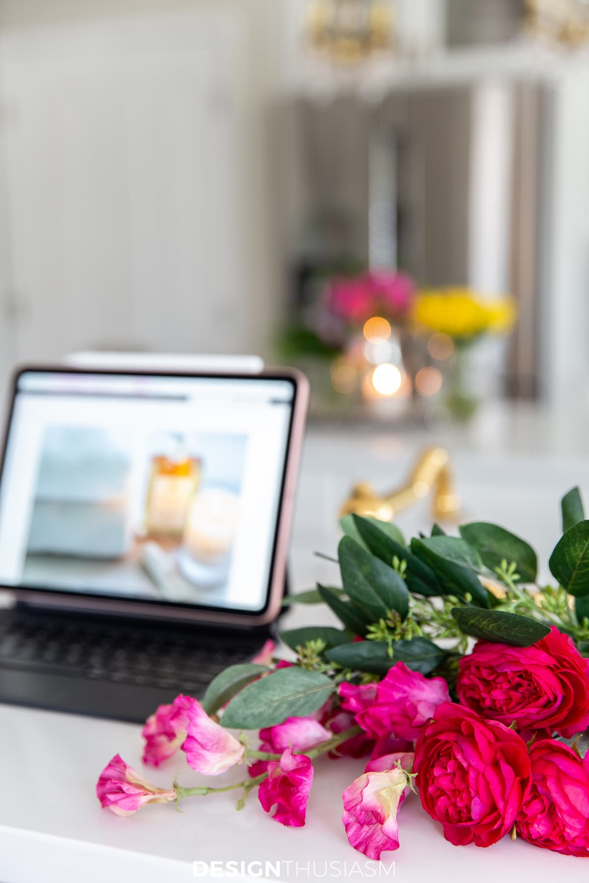 Life hacks for home iPad and flowers