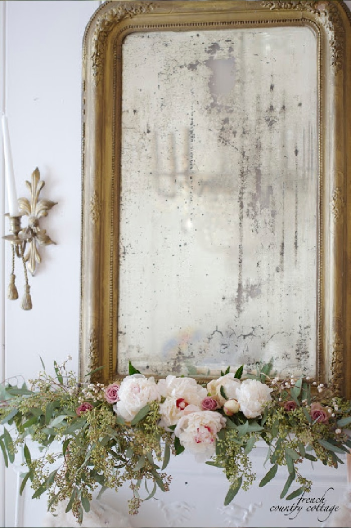 White and blush Christmas French Country Cottage