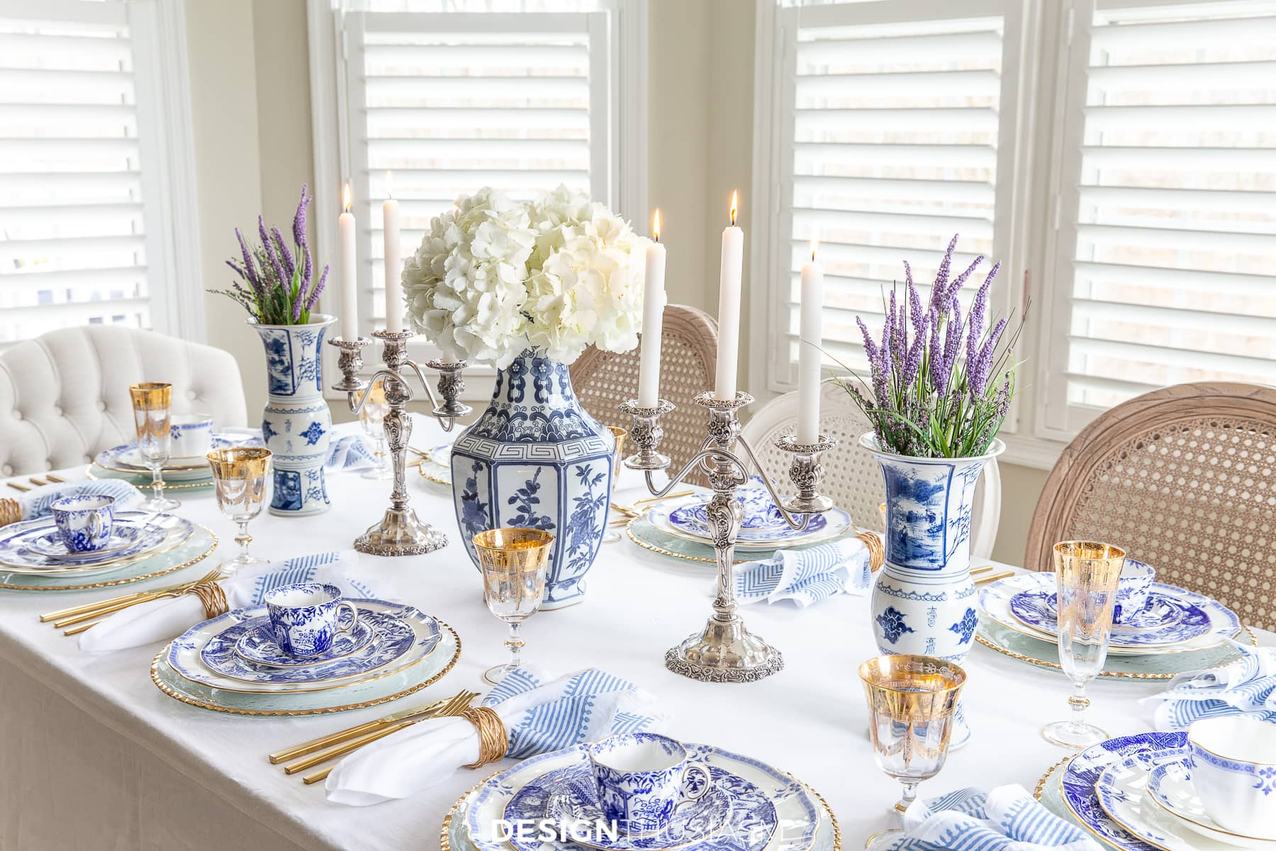 blue and white china holiday tablescape