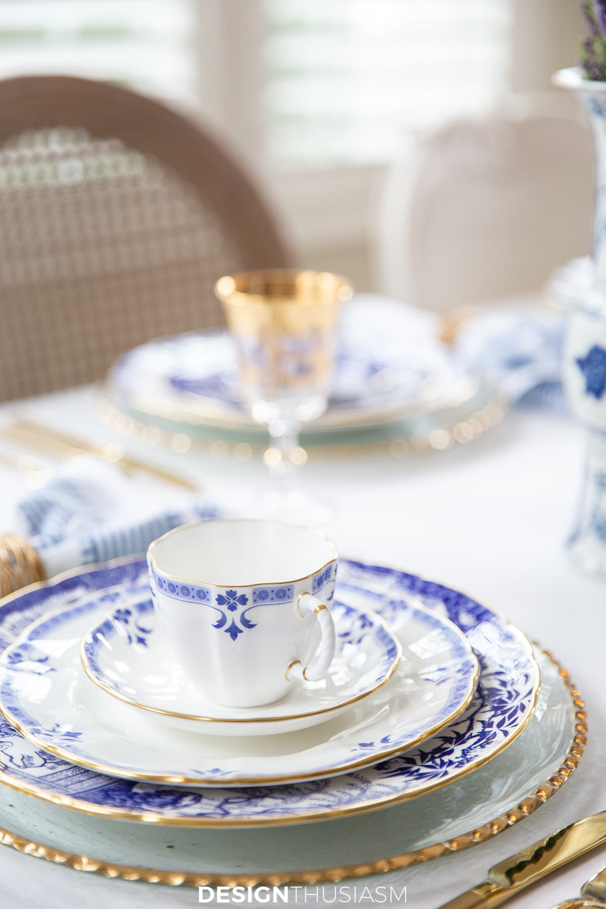 blue and white china place setting
