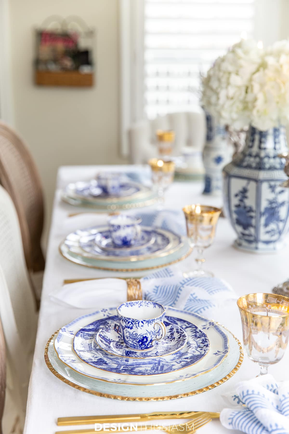 blue and white china table setting side view