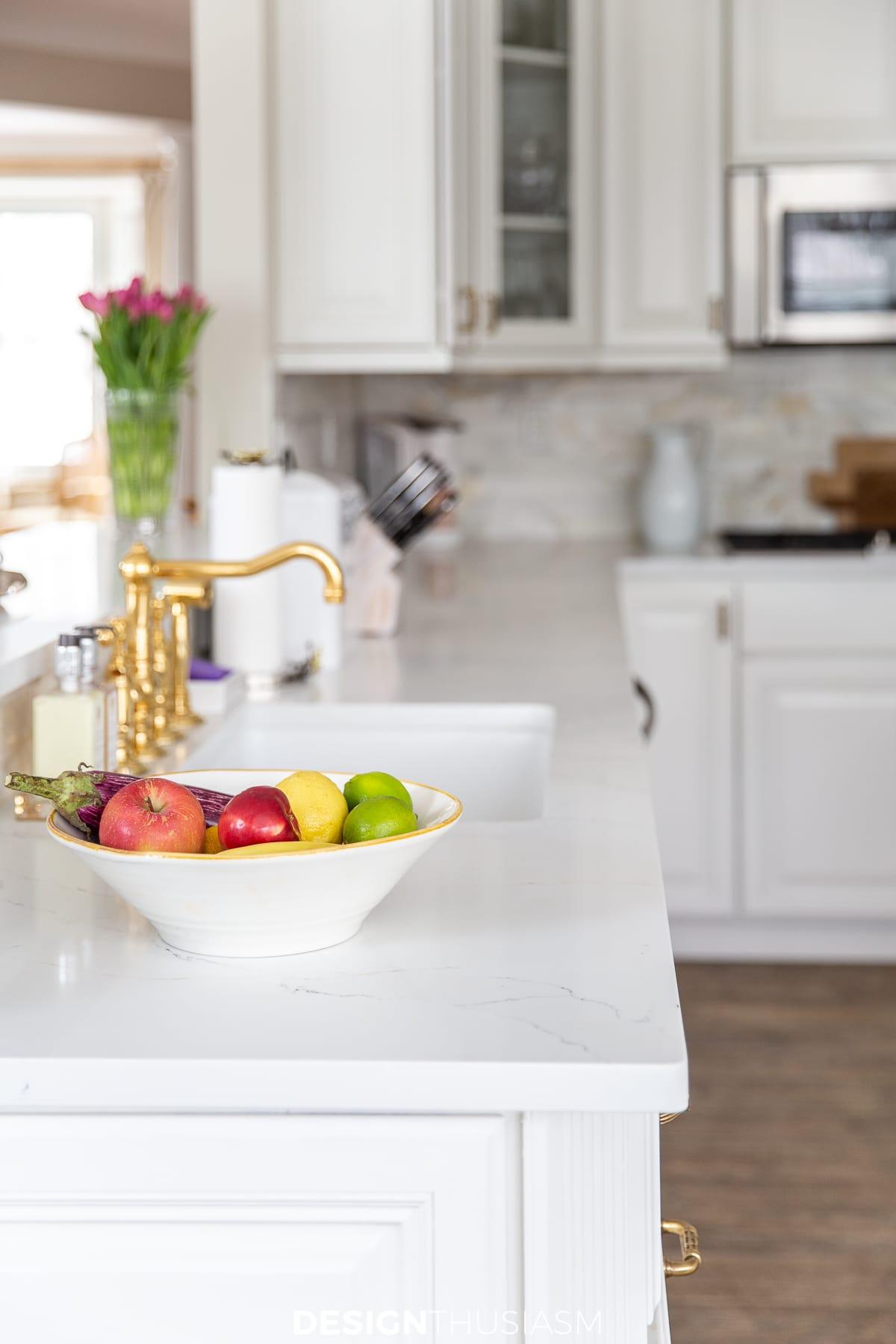kitchen remodel with white quartz countertops