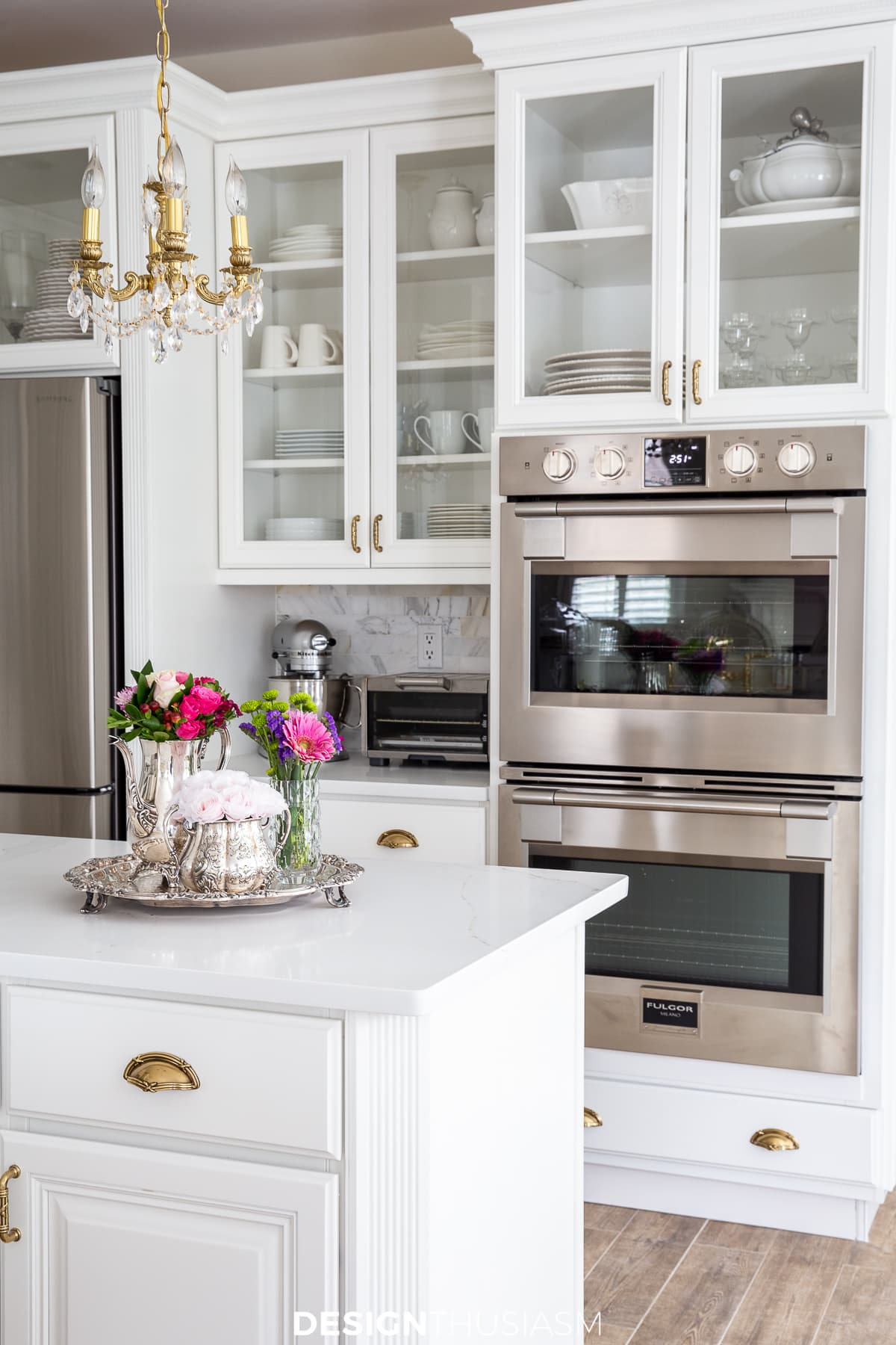 white kitchen remodel with double oven