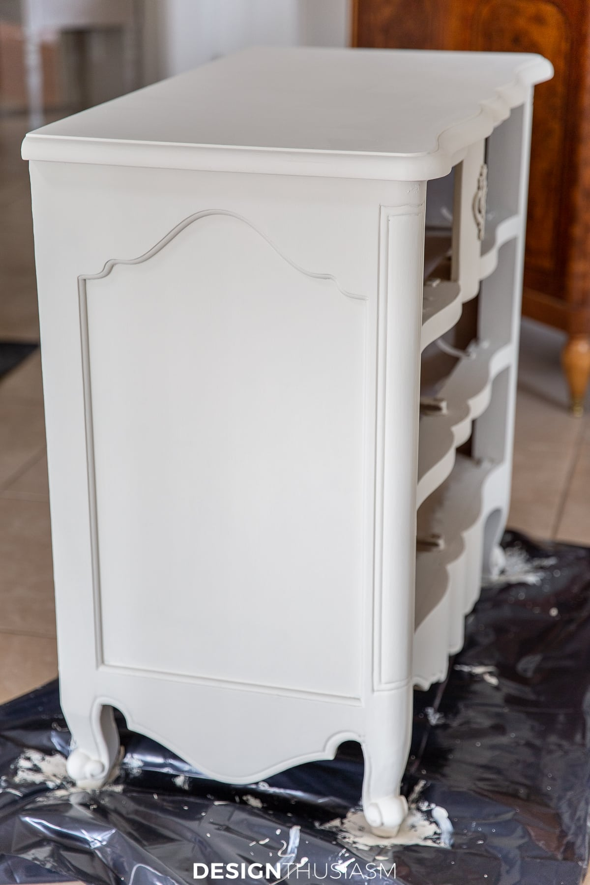 chalk painted chest of drawers side view