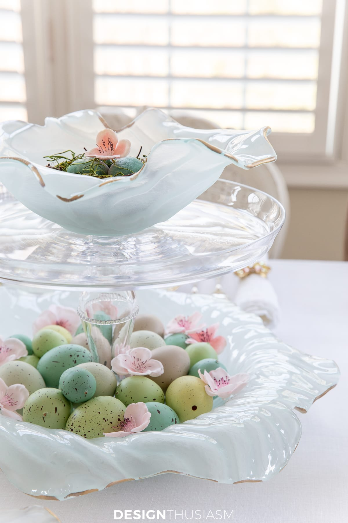 Poppy bowl Easter table centerpiece
