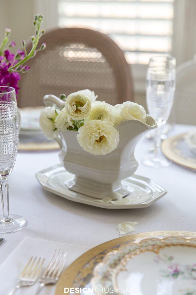 Mother's Day celebration white ranunculus