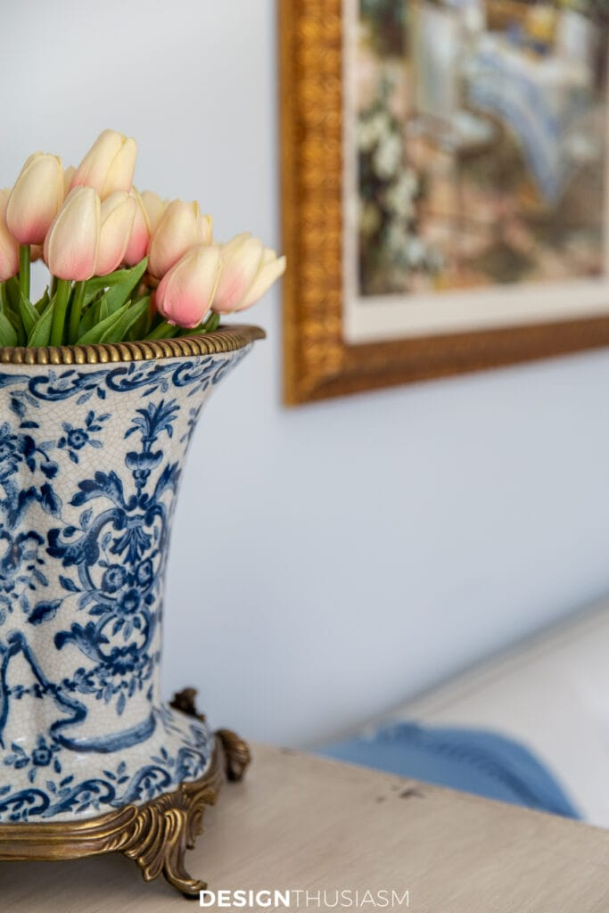 office bedroom vase with tulips