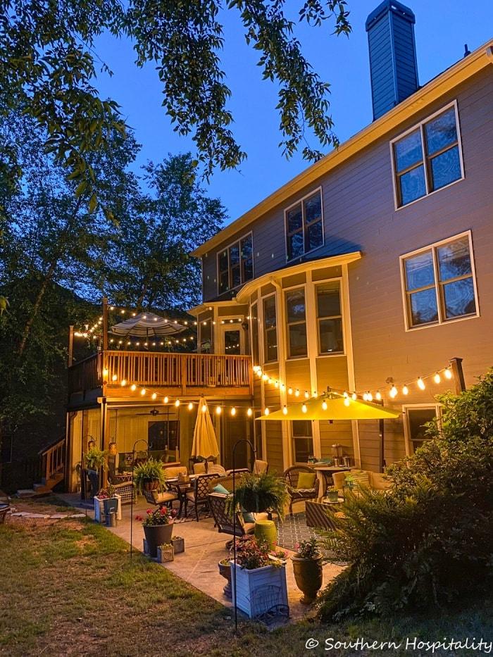 Backyard lighting at night from Southern Hospitality