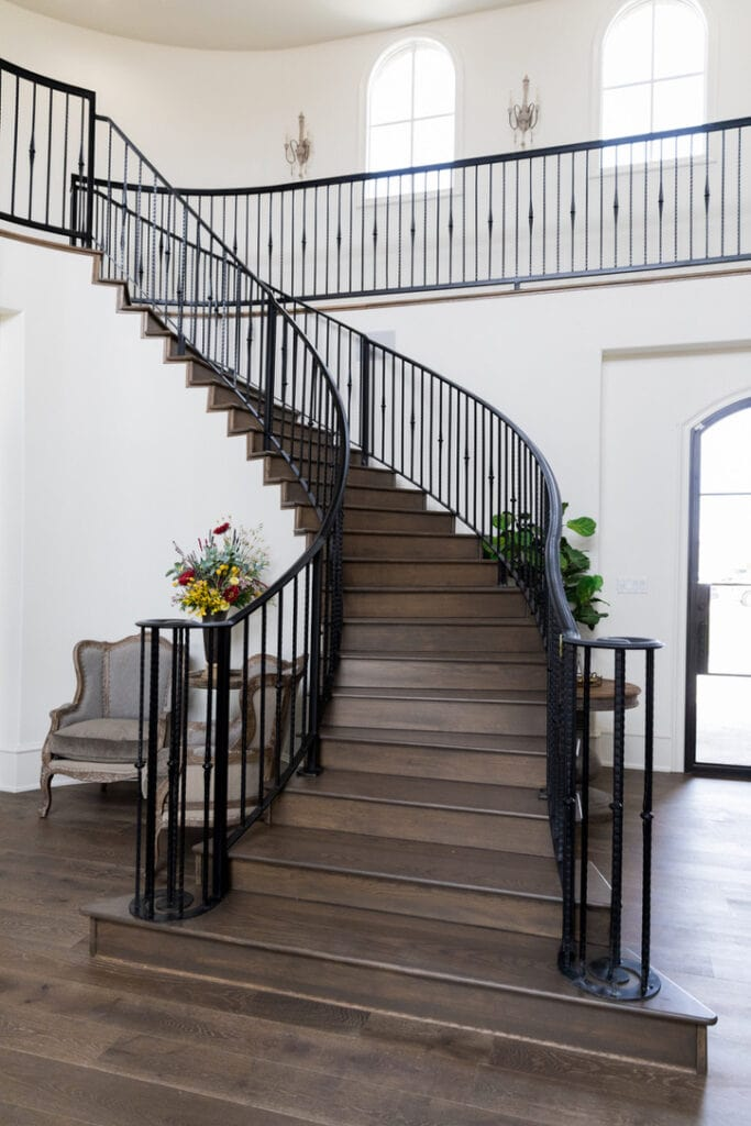 rustic chic house tour stairway