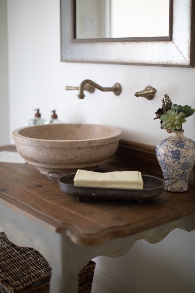 rustic chic house tour powder room