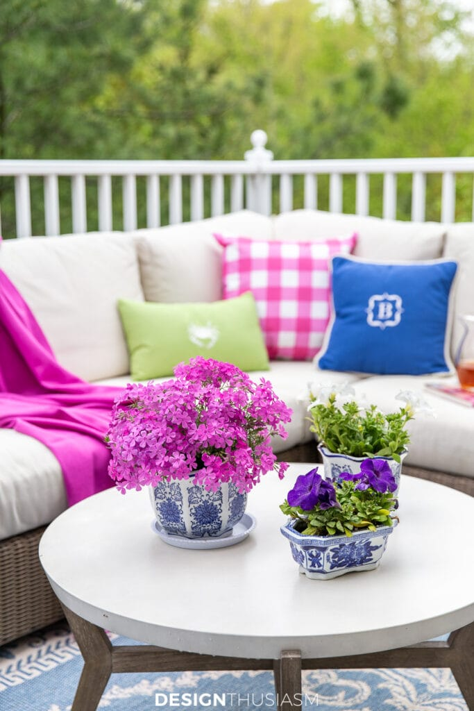 patio furniture with bright pillows