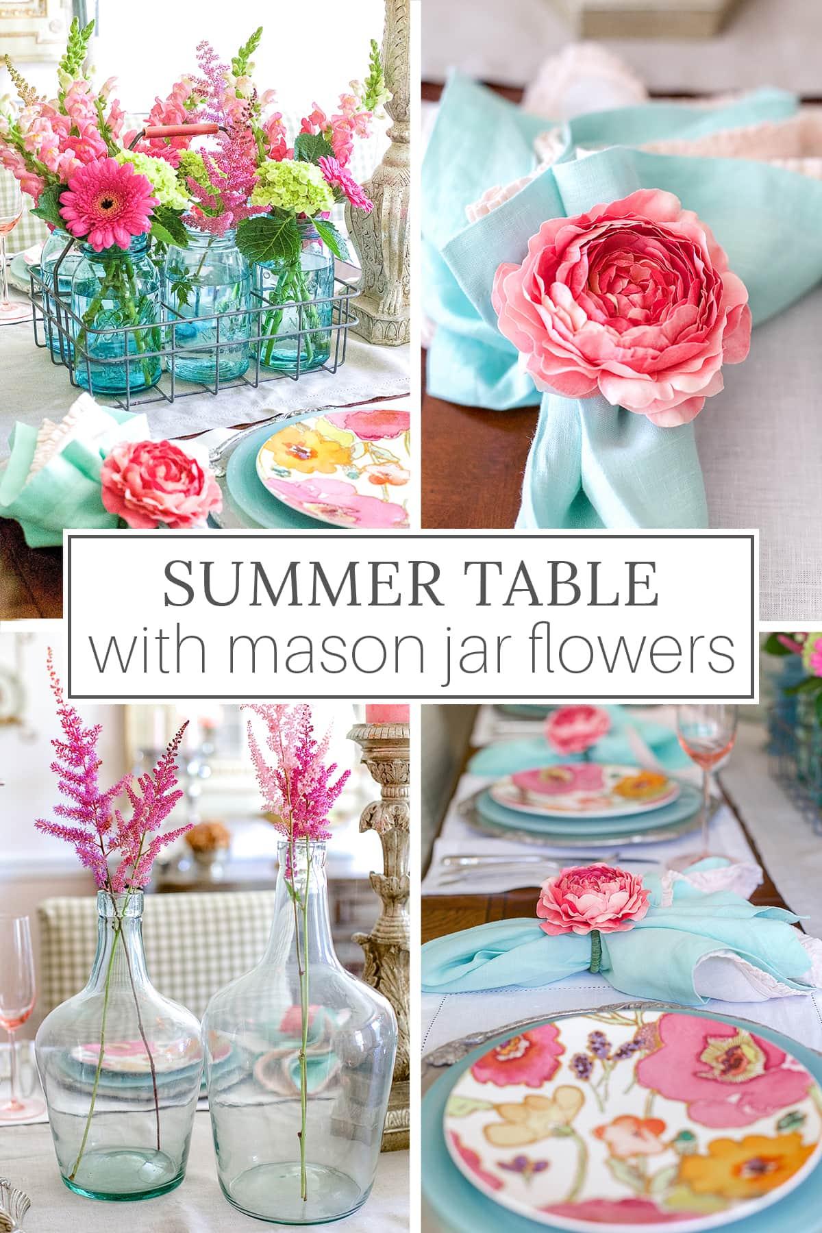 summer table with mason jar flowers