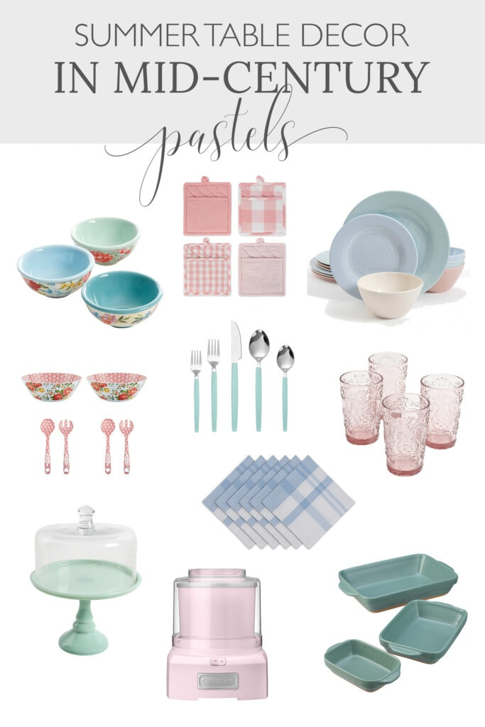 summer table in mid-century pastels