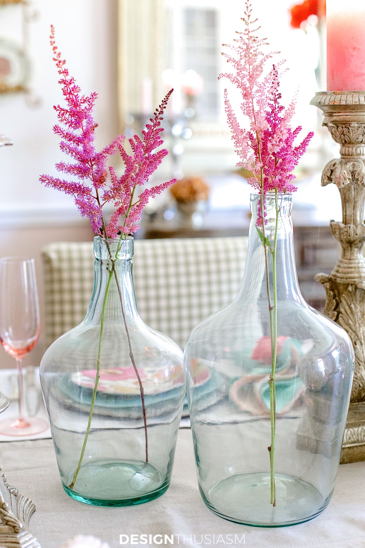 demijohns with floral