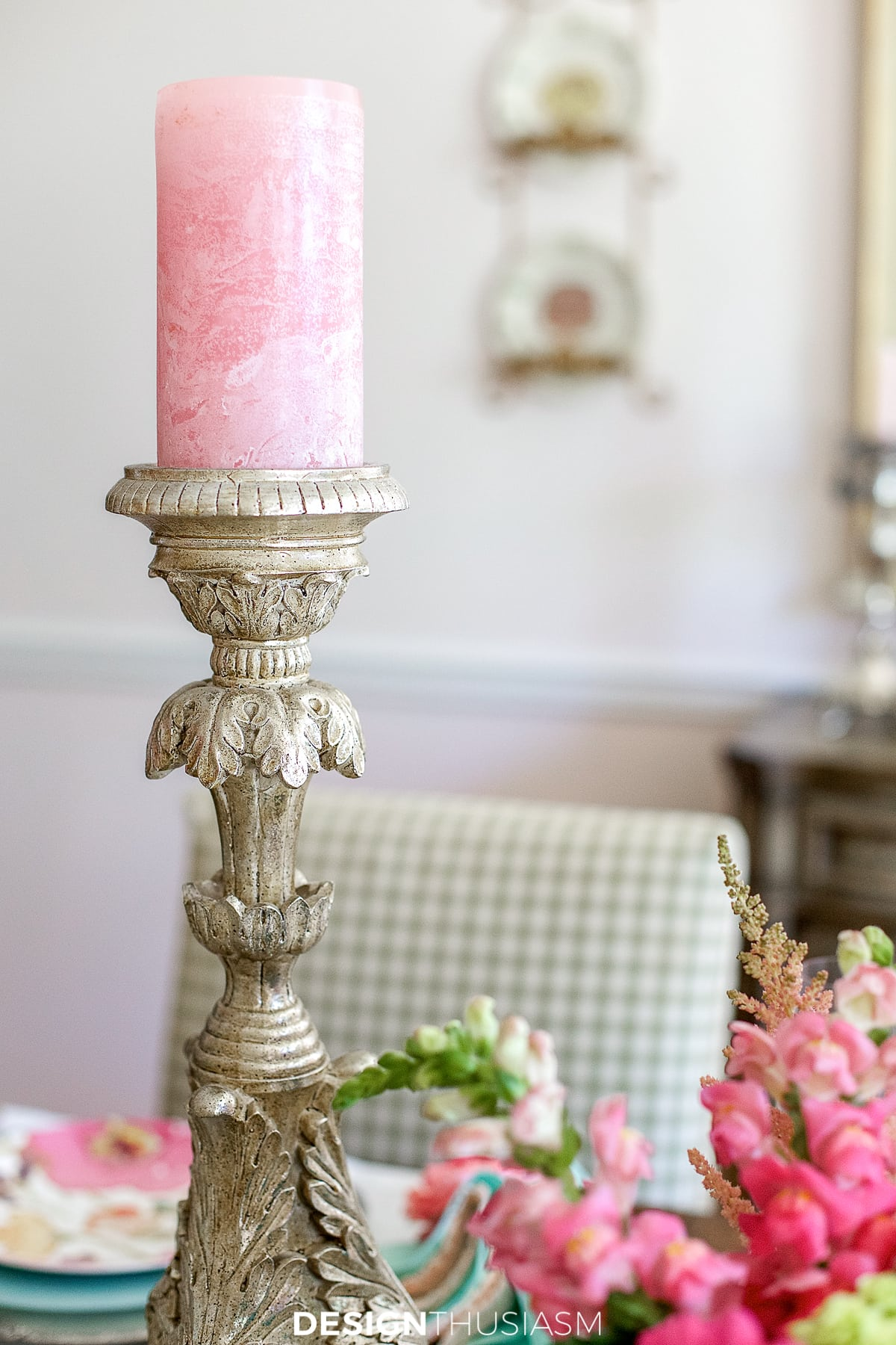 candlestick with pink candle