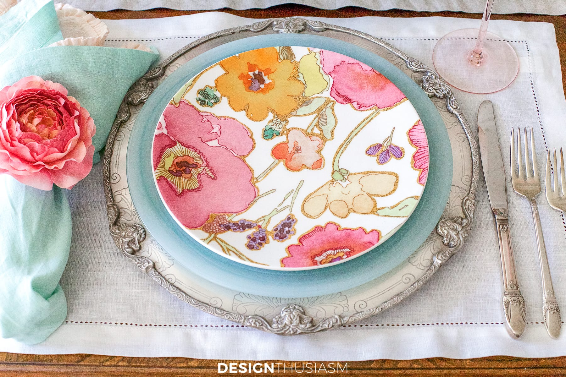 floral print plate on summer table