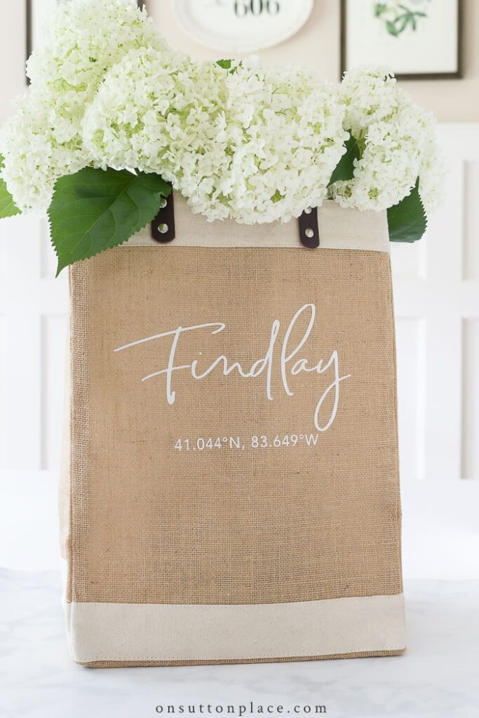 On Sutton Place Burlap Tote Bag with Hydrangeas